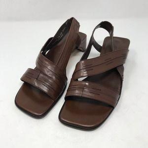 Cole Haan Brown Strap Sandals Shaped Heel